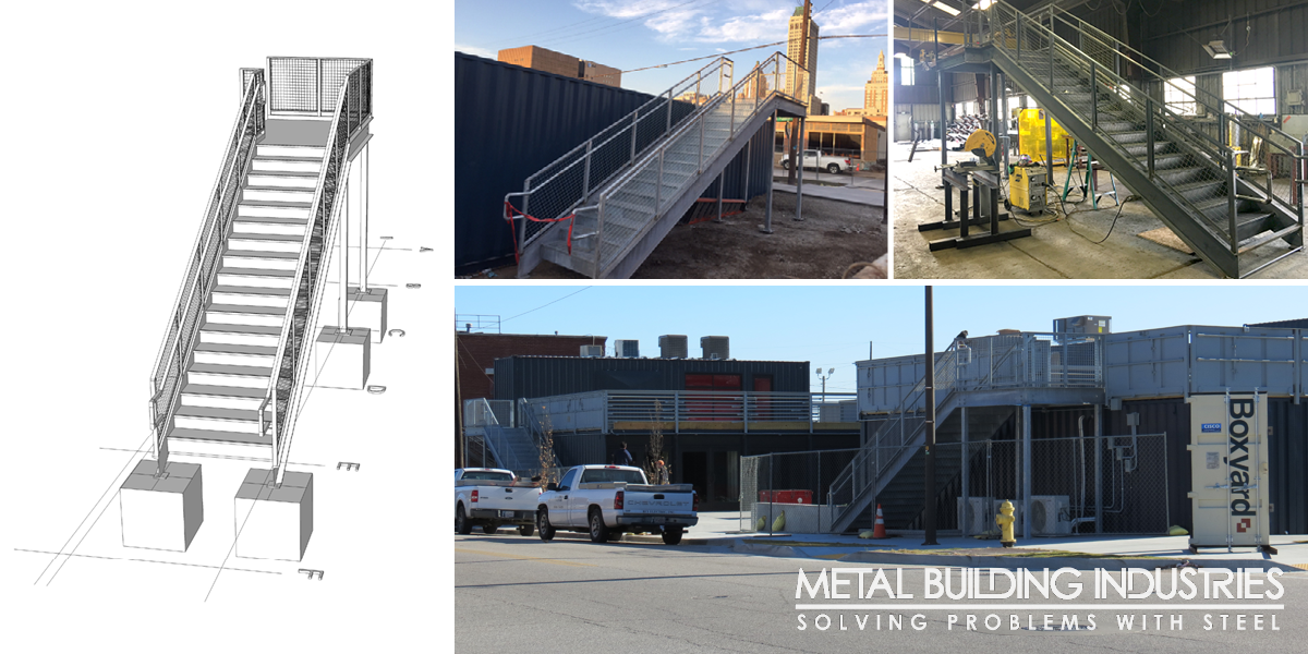 Steel stair system process images from digital concept to final installation