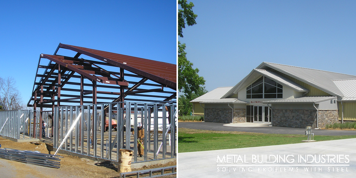 chapman event center light gauge framing before and after