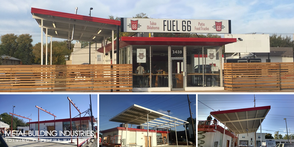 Fuel 66 Food Truck Park canopy installation process